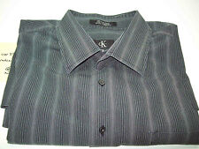 Calvin Klein 17 1/2, 32/33 Black Dress Shirt with Silver Stripes. Ships Fast!