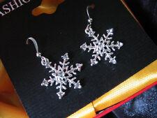 Fine Silver hexagonal shape of little snowflake dangle earring
