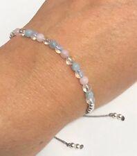 Just Gemstones Rose Quartz Aquamarine Opalite Quartz Healing Bracelet Adjustable