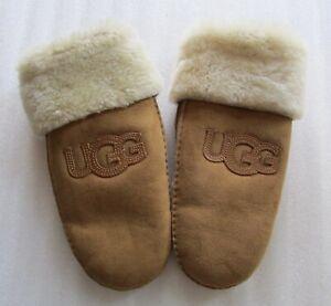 UGG Gloves Logo Patch Mittens Shearling Chestnut L/XL Nwd
