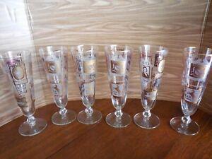 "Vintage Libbey Gold & White Embossed ""Inns & Pubs Signs"" Pilsner Glasses"