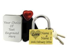 Love Lock Personalised Engraved Padlock Anniversary Gift Wedding Present + ChocT