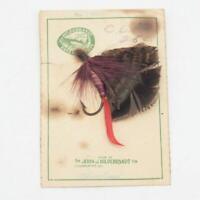 Vintage Hildebrandt Handmade Baits Flies Fly Fishing On Card