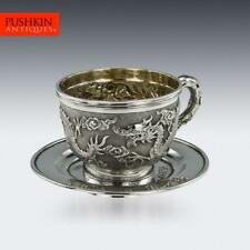 More details for antique 19thc chinese export solid silver cased cup & saucer, tuck chang c.1890