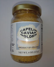 Golden Capelin Wild Caught Caviar 4oz (113g) glass jar Gold red roe from Iceland