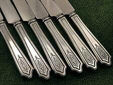 Set of 6 Stratford Plate CARMEN Dinner Knives Art Deco 1927 Vintage Silverplate