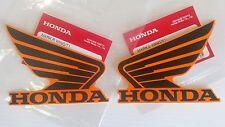 Honda REPSOL Wing Fuel Tank Decal Wings Sticker 2 x 90mm BLACK & ORANGE