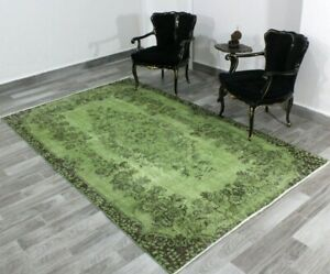 Overdyed Green Area Rug Turkish Vintage Handmade Traditional Wool Carpet 5x9 ft