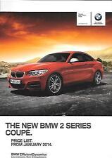 BMW 2 SERIES COUPE PRICE LIST CAR  BROCHURE JANUARY 2014