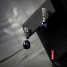Boucles d`Oreilles Clous Perle de Culture Grise Noire Argent 925 Goutte 9mm-10mm