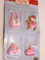 4 MINI Pink & WHITE Baby Girl Christmas Tree Ornament Decorations Bear Bib Heart