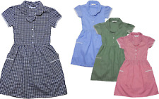 EX- M & S Girls Gingham Uniform School Summer Dress 100% Cotton  3-4 to11-12 yrs