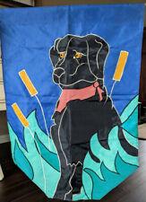 Outdoor garden flag large 28 x 39 nylon black dog hunting 2-sided
