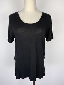 Witchery Short Sleeve Black Linen Top With Crossover Back S