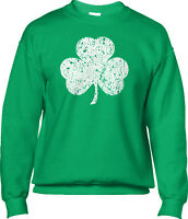 Shamrock Distressed St Patricks Day Irish Pride Ireland Clover Mens Sweatshirt