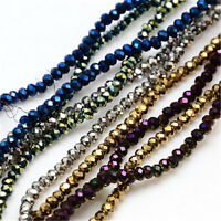10 Strands Faceted Rondelle Crystal Glass Craft Finding Loose Spacer Beads 2.5mm