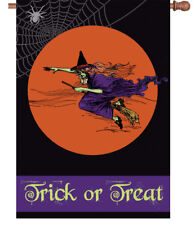 """"""" FLYING WITCH TRICK OR TREAT """"  HOUSE FLAG 28"""" x 40"""" Halloween SALE SALE SALE"""