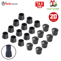 20 PCS 7/8 Inch Round Black Rubber Leg Tips for Table Folding Chair Foot Caps