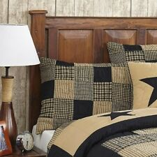 "3 PC. CAL KING ""JAMESTOWN"" BLACK & TAN Quilted Bedding SET~Country,Primitive"