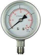 """Pressure Gauge 0...4 Bar / 0...60 PSI, 63mm, 1/4"""" BSP, stainless steel"""