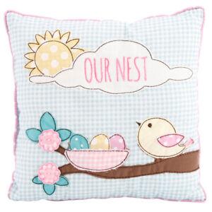 Gingham Print 'OUR NEST' Home Birds Cushion Birthday Christmas Gift Present
