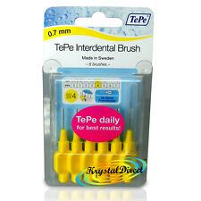 Tepe 0.7mm Yellow Interdental Brush Size 4 Easy Clean Between Teeth Pack of 6