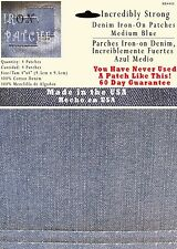 "4 Medium Blue 4""x4"" Iron on Patches - Strongest Iron on Denim Jean Patch"