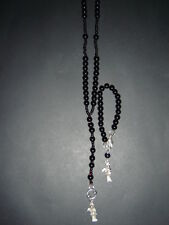 #140 SET ROSARIO + PULSERA SANTA MUERTE 2 rosary and bracelet black proteccion
