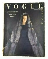 Vintage Fashion Magazine Vogue Oct 15 1940 Accessories Jewels Furs Retro Couture