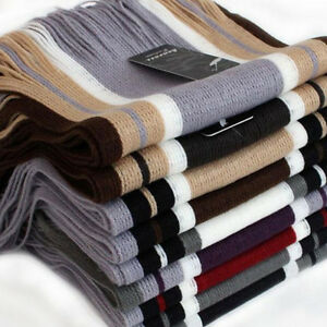 Winter Unisex Striped Softy Cashmere Scarf Neck Thick Warm Long Stole Shawl Wrap