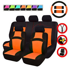 Universal Fit Truck SUV Car Seat Covers Orange For Women Steering Wheel Cover
