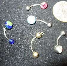 LOT of 5 Belly Rings Body Piercing Mixed Colors Sizes Unknown Profane Words