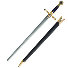 "33"" Masonic Knights Templar Mason's Ceremonial Blue Sword Stainless Steel Blade"