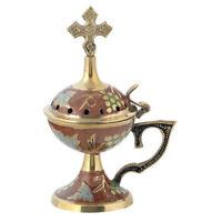Red Enamel Coated Brass Greek Christian Orthodox Home Censer Incense Burner New!