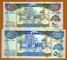 SET Somaliland, 100;500 shillings, 1996, P-5-6 (5b-6b), UNC