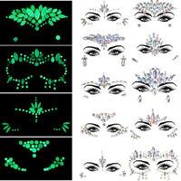 Glow in the Dark Mermaid Crystal Face Gems Festival Body Art Rhinestone Jewels