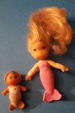Vintage Sea Wees Mermaid Doll Pink Sandy w Baby Cascade Cute and Clean!