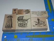 Stampin Up Buggies & Booties Vintage Baby Stamp Set Christening Gown Stork