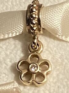 PANDORA AUTHENTIC 14ct GOLD DIAMOND FLOWER CHARM RETIRED