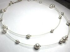 """Pretty 18"""" Sterling Silver Faux Pearl Beads 2 Strand Illusion Necklace"""