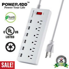 6FT 6 Outlet 6 USB Charging Port Power Strip with Surge Protector Lightningproof