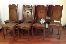 Antique French Carved Dining Chairs Rare Set of Six Oak  - BK65