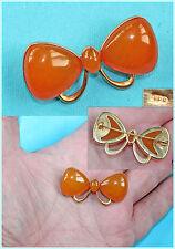 """Vintage Russian Bow-tie Amber Brooch,Kaliningrad Amber Factory '8РЯ"""" Marked"""