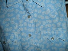 Cowgirl Western Rodeo Ranch Gathered Cute SUMMER SHIRT Cotton Cowboy Pearl Snap