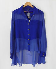 New Ladakh Hi-Low Button Front Top Long Sleeve Blue Size 2 (Over sized) Chiffon