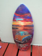 lincoln city surf shop wooden mini surfboard skimboard sign woody wagon surfer