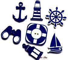 7 boutons décoratifs en bois thème marin flatback wood sea buttons 3 cm DIY