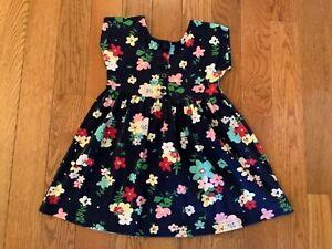 EUC HANNA ANDERSSON Girls Sz 5 or 110 Cotton Navy Dress w/ Multicolor Flowers
