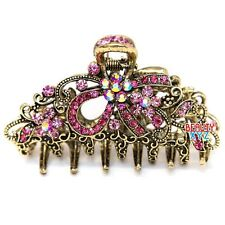 Woman Medium elegant silver metal bow rhinestones crystal hair claw Clip pin USA