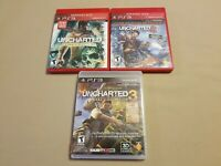 Lot of 3 Uncharted 1, 2, and 3 (Sony PlayStation 3 PS3) Game LOT CIB All Tested